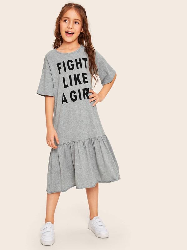 Girls Slogan Graphic Flippy Hem Dress, Grey, Alice A