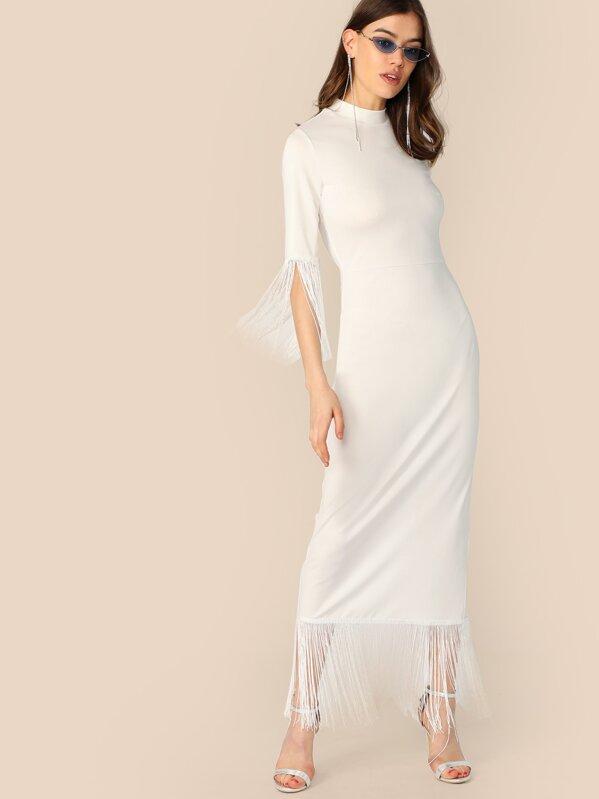 Mock Neck Fringe Trim Split Solid Dress, Joanna Halpin