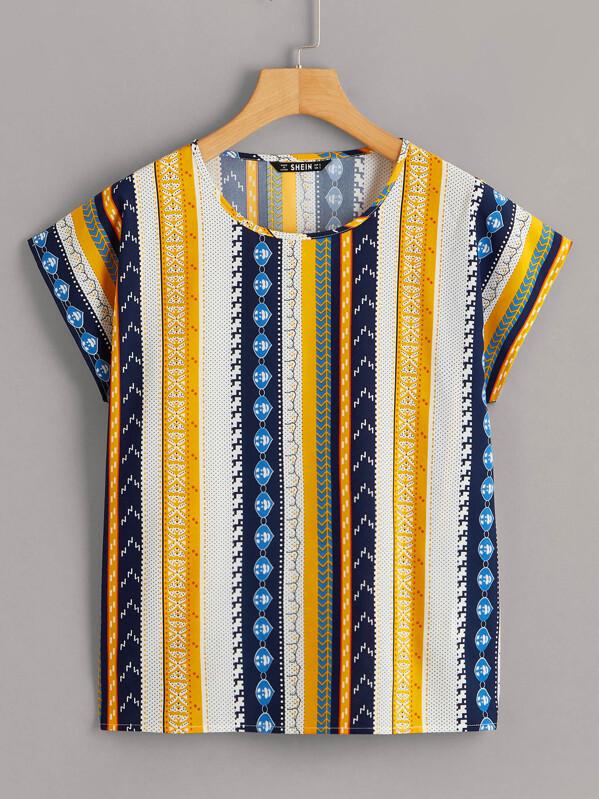 Striped & Geo Print Cap Sleeve Blouse, null