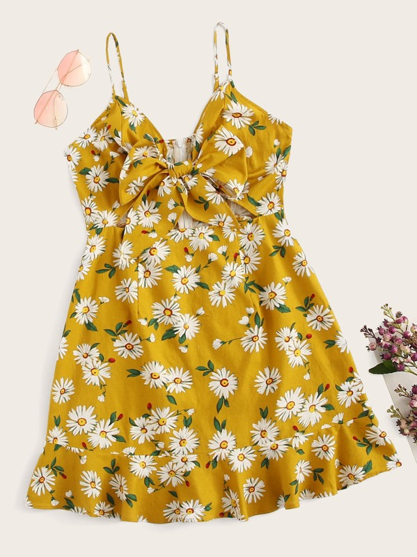 Bow Front Ruffle Hem Floral Print Slip Dress, null