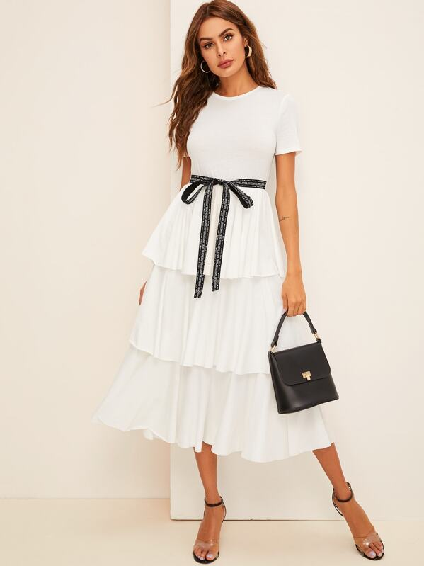 Contrast Tie Waist Layered Ruffle Dress, White, Andy