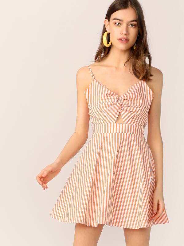 Cutout Tie Back Twist Front Striped Flare Dress, Orange, Joanna Halpin