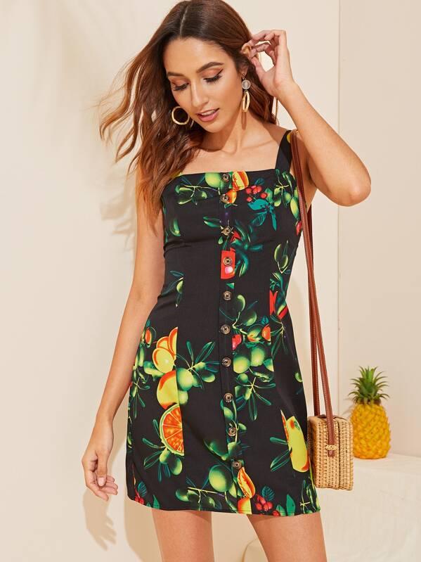 Fruit Print Button Through Shirred Back Pinafore Dress, Gabi B