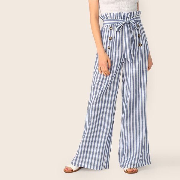 Paperbag Waist Double Breasted Belted Striped Pants