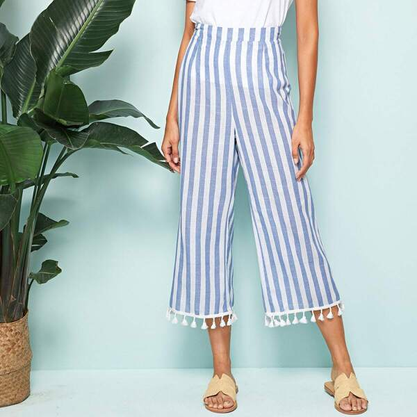 Tassel Hem Wide Leg Striped Crop Pants