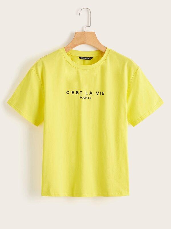 Неоновая желтая футболка с текстовым принтом, null