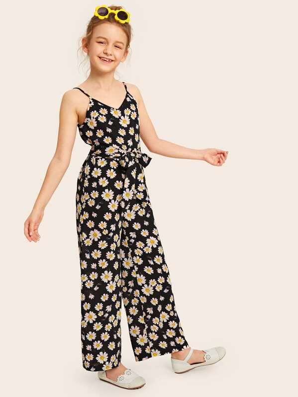 Girls Daisy Print Self Belted Wide Leg Cami Jumpsuit, Sashab