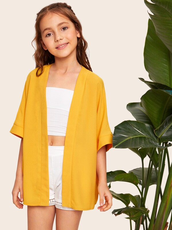 Girls Drop Shoulder Solid Kimono, Alice A