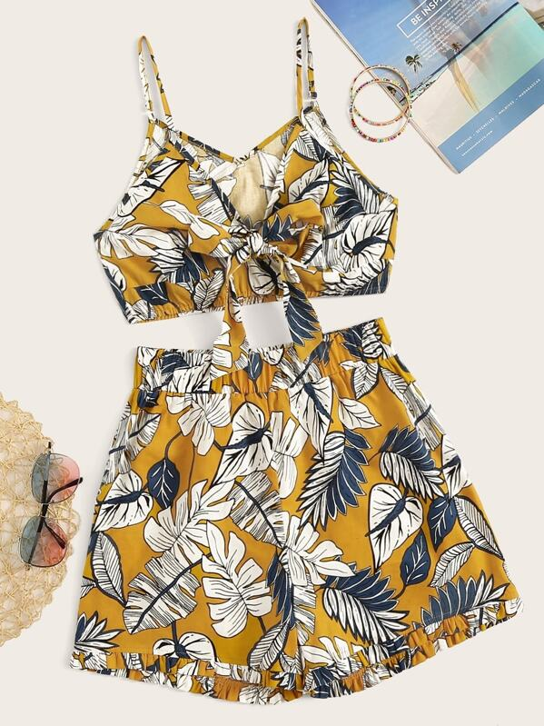 Tropical Print Tie Front Crop Cami Top & Shorts, null