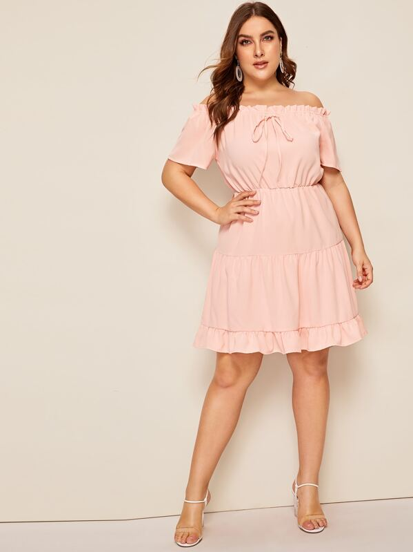 Plus Off Shoulder Lettuce Frill Knot Ruffle Hem Dress, Pink, Franziska