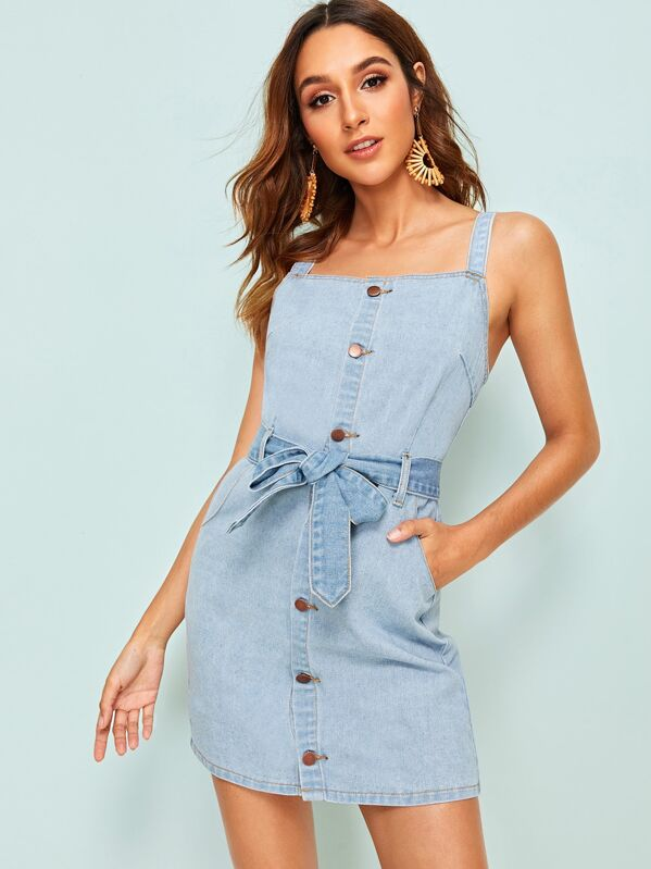 Button Front Belted Straps Neck Denim Dress, Gabi B