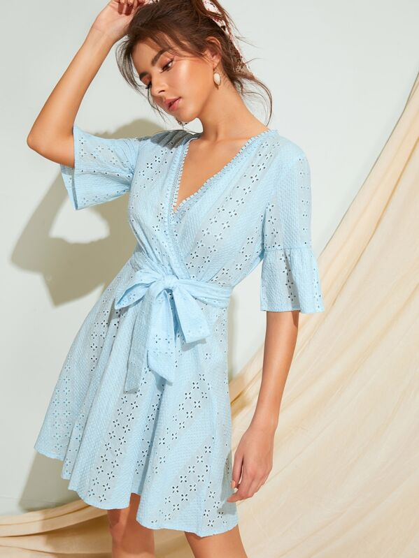 Surplice Eyelet Embroidery Belted Dress, MARTINA
