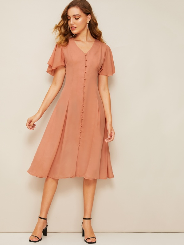 60s Flutter Sleeve Button Up Pleated Dress, Pink, Debora