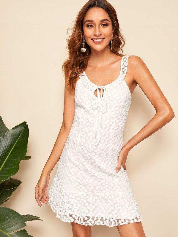 Flounce Hem Embroidered Mesh Overlay Dress, Gabi B