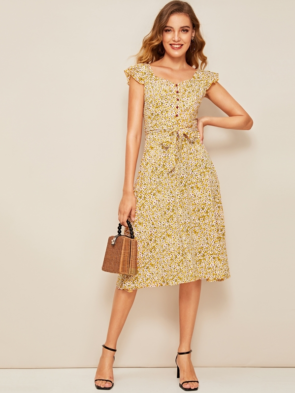 Ditsy Floral Print Ruffle Cuff Self Belted Dress, Debora