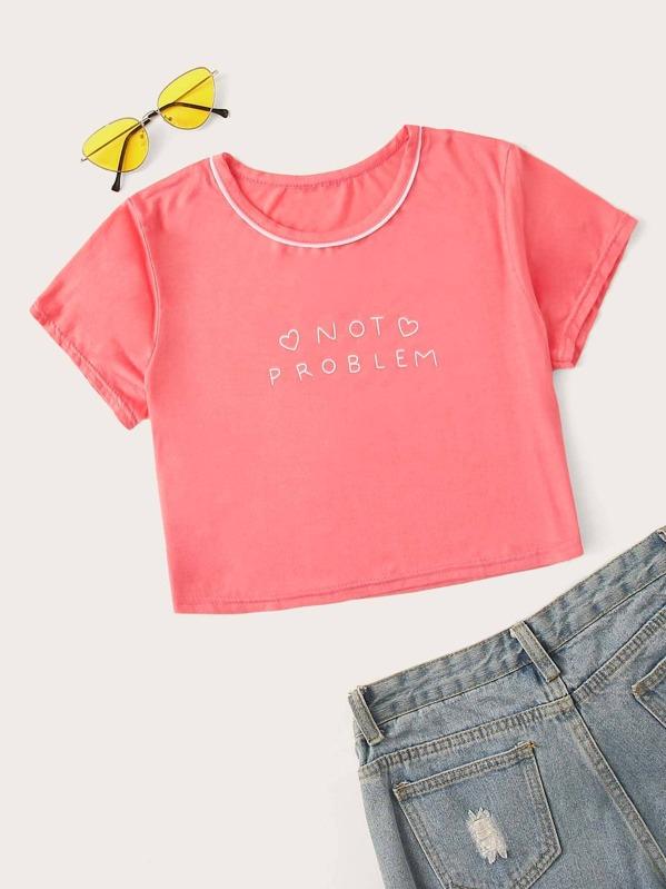 Кроп футболка с текстовым принтом, null