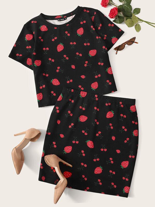 Plus Allover Fruit Print Top & Skirt Set