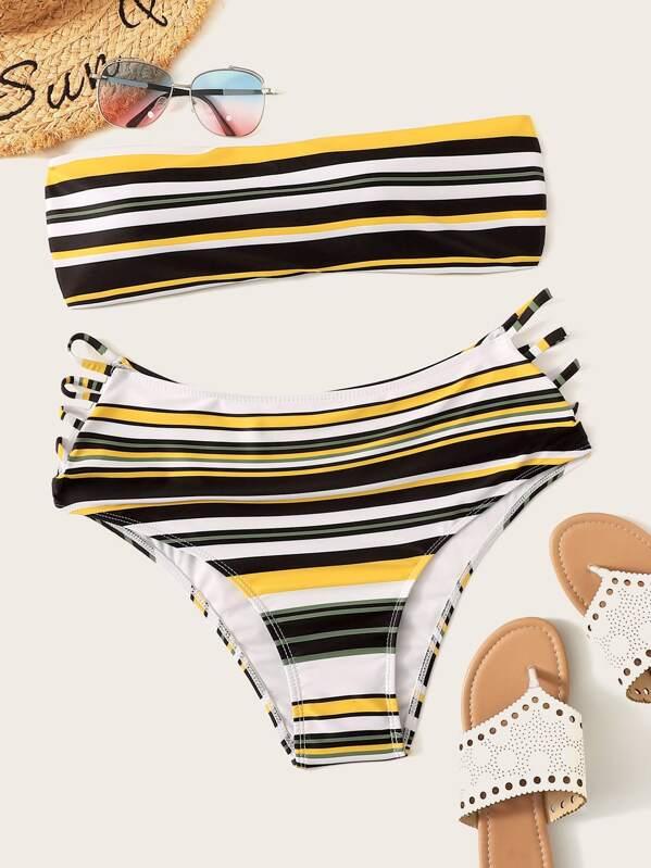 Plus Striped Bandeau With High Waist Bikini Set, null