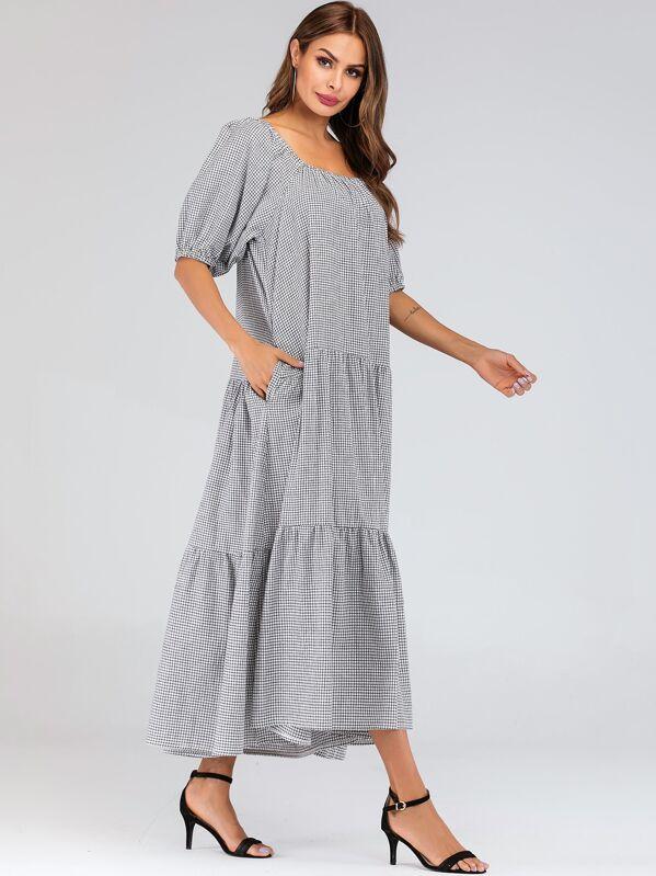 Gingham Print Bishop Sleeve Square Neck Dress