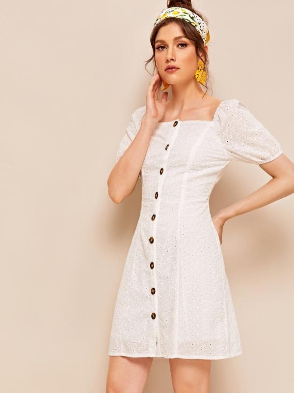 Button Front Eyelet Embroidery Square Neck Dress, Monika B