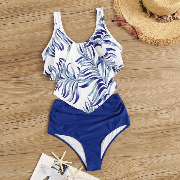 Random Leaf Print Floaty Top With Ruched Bikini, Multicolor