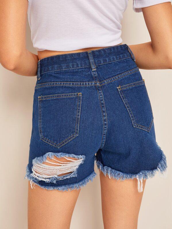 Ripped Detail Raw Hem Denim Shorts, Debora