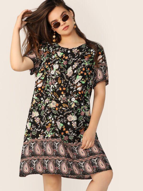 Plus Floral & Paisley Print Tunic Dress, Faith Bowman