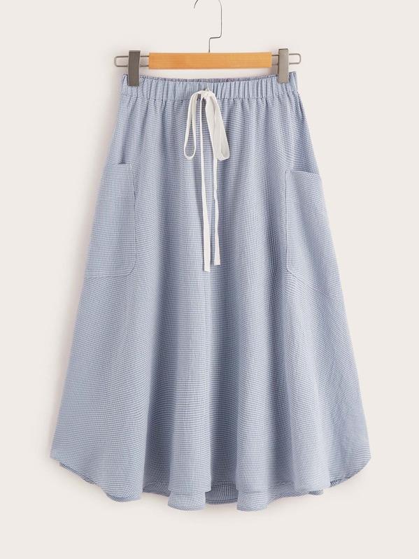 Drawstring Waist Pocket Side Gingham Skirt, Blue