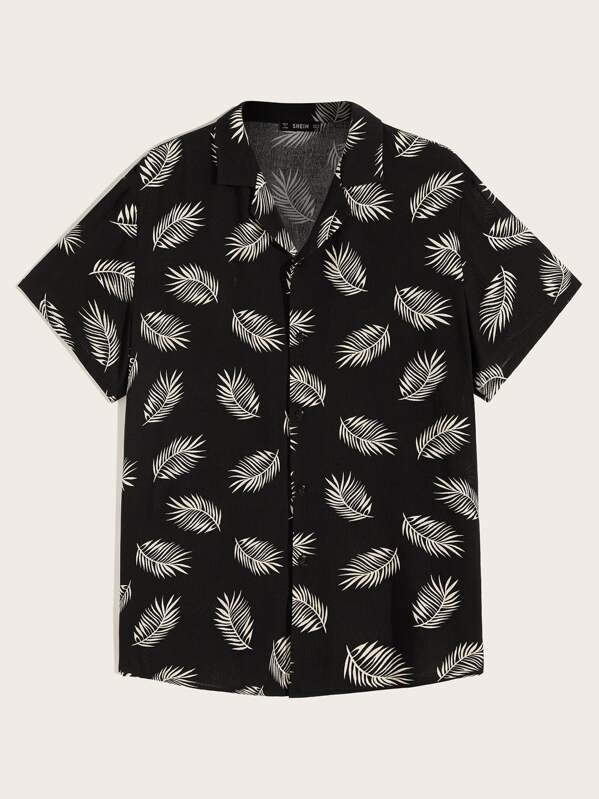 Men Revere Collar Leaves Print Shirt
