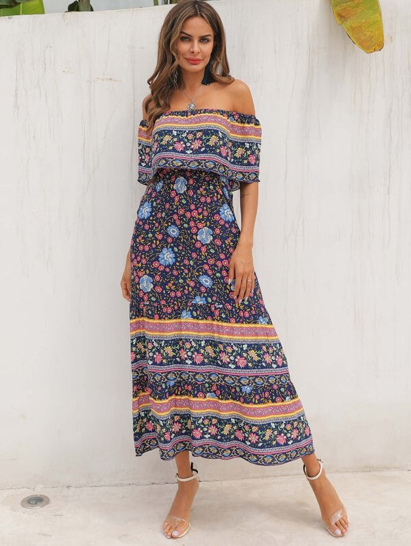 Tribal Ditsy Floral Ruffle Trim Off Shoulder Dress, Andy