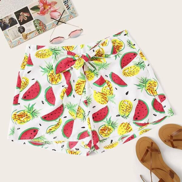 Plus Fruit Print Shorts, Multicolor