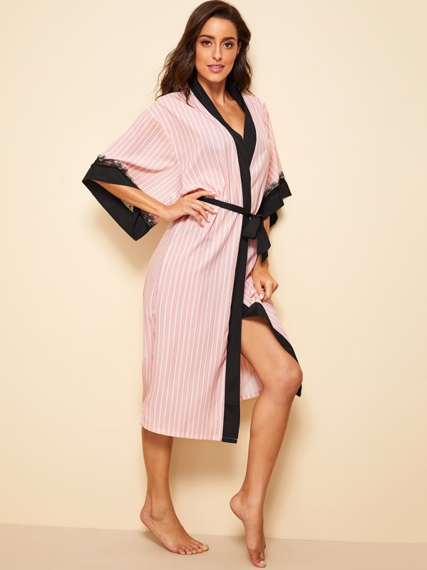 Eyelash Lace Striped Self Belted Robe, Pink, Mary P.