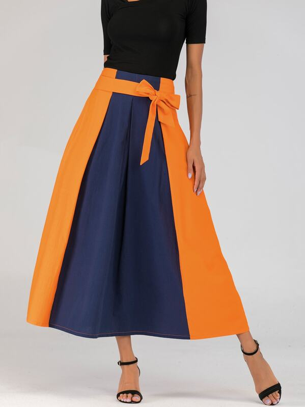 Spliced Knot-front Zip-back Maxi Skirt, Multicolor