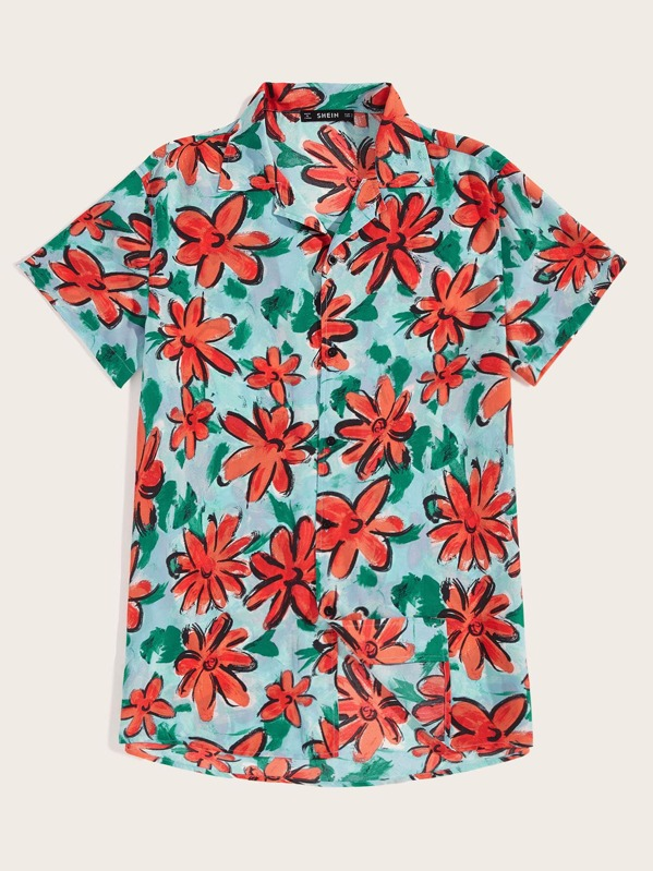 Men Flower Print Revere Collar Shirt