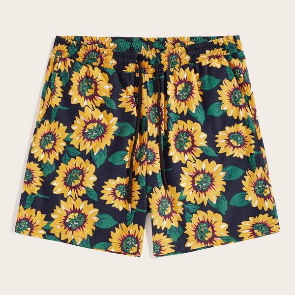 Men Drawstring Waist Sunflower Print Shorts, Multicolor