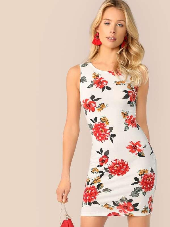 Floral Print Bodycon Tank Dress, Allie Leggett