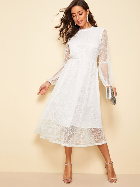 Scallop Mock Neck Sheer Balloon Sleeve Lace Dress, Mary P.