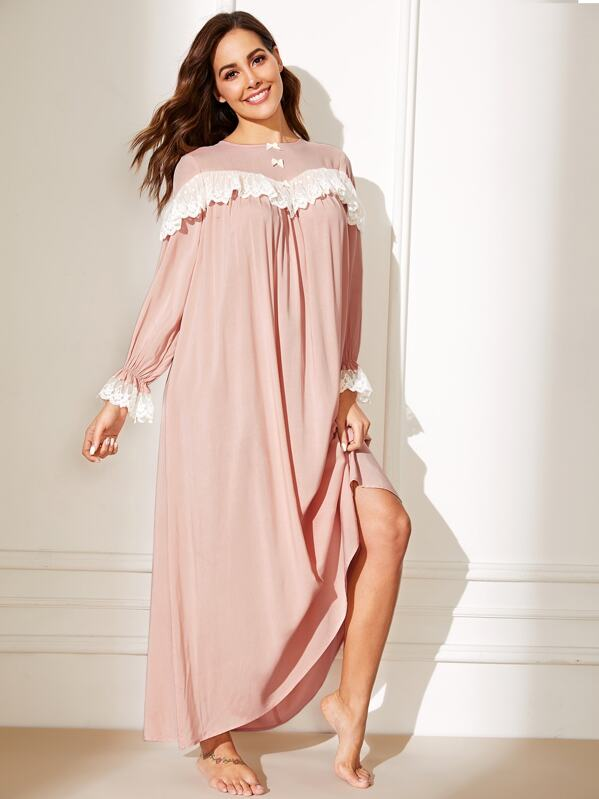 Bow Front Contrast Lace Neck Ruffle Hem Nightdress, Pink, Giulia