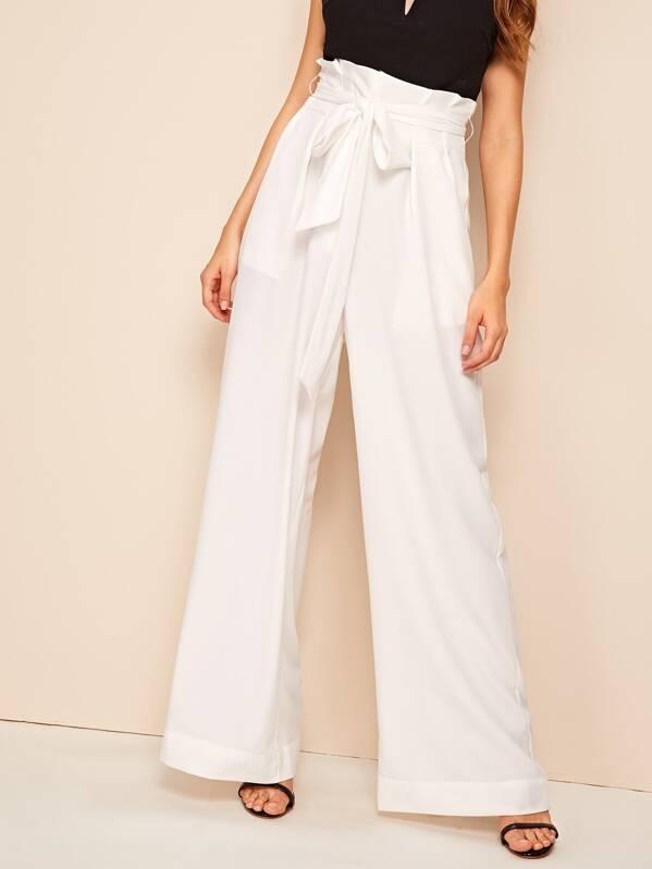 Belted Paperbag Waist Wide Leg Pants, Barbara C