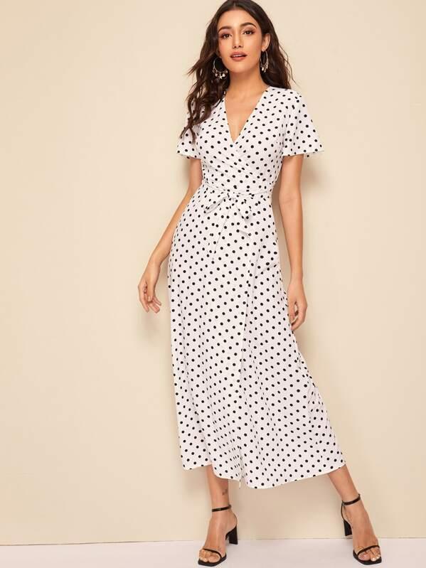 Polka Dot Print Belted Wrap Dress, Roberta B