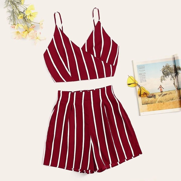 Knot Back Striped Wrap Cami Top & Shorts Set