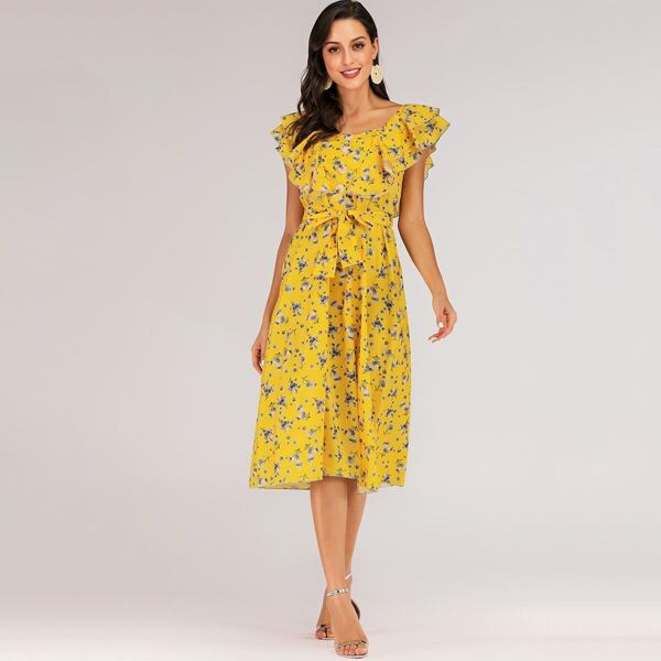 Ditsy Floral Layer Ruffle Button Front Belted Dress, Yellow