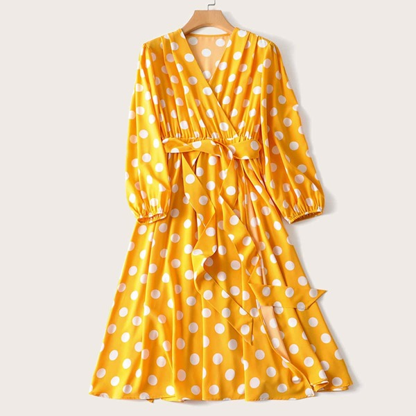 Plus Polka Dot Belted Surplice Dress