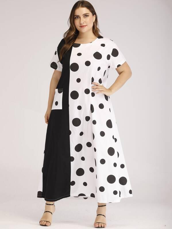 Plus Polka Dot Print Pocket Detail Maxi Dress