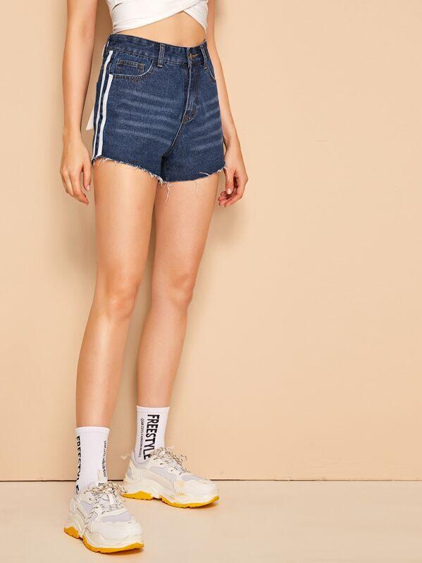 Raw Hem Tape Side Denim Shorts, Monika