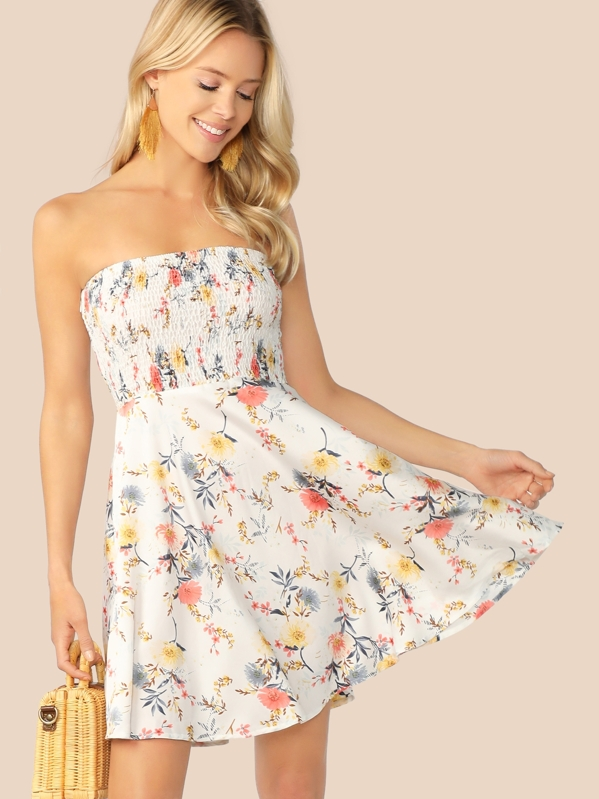 Floral Print Shirred Bandeau Flare Dress, White, Allie Leggett