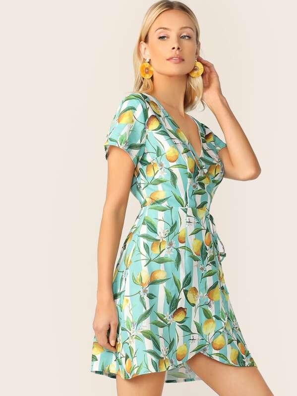 Lemon & Striped Print Self Tie Wrap Dress, Multicolor, Allie Leggett