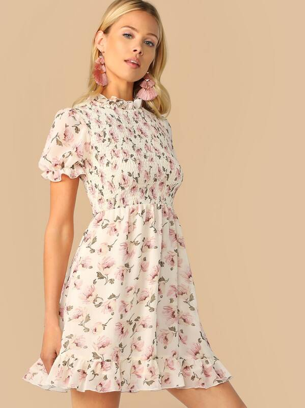 Floral Print Mock Neck Ruffle Trim Shirred Dress, Multicolor, Allie Leggett
