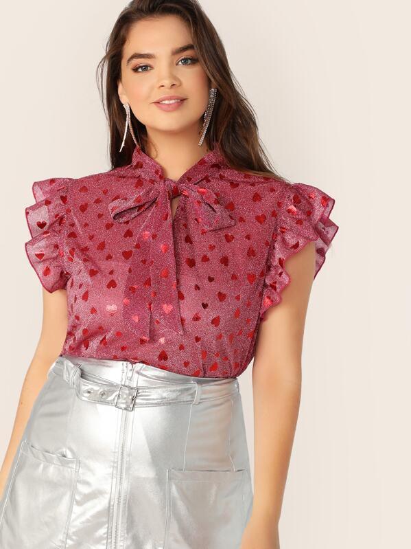 Plus Tie Neck Ruffle Armhole Heart Print Top, Faith Bowman