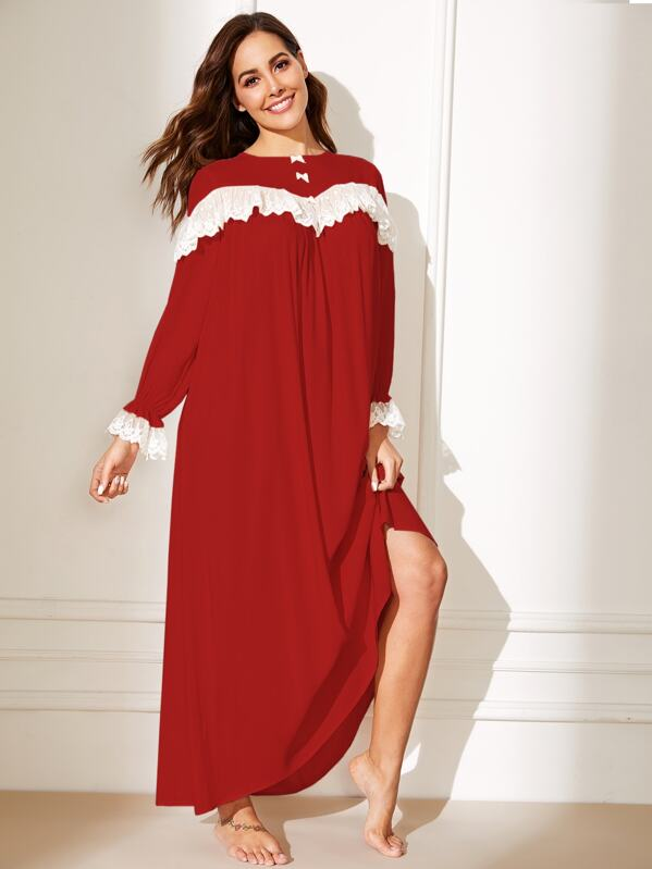 Bow Detail Contrast Embroidered Mesh Ruffle Nightdress, Red, Giulia